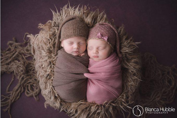 Professional Photography of Newborn Twins with Intertwined Wrap from Seneca South Carolina