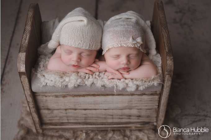 Photograph of Newborn Twins from Seneca SC Wearing Sleeper Caps
