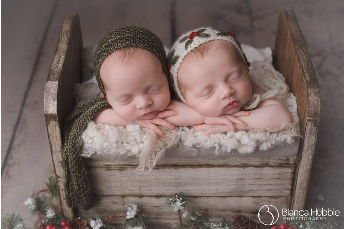 Christmas Themed Newborn Twin Photo with clients traveling from Seneca SC