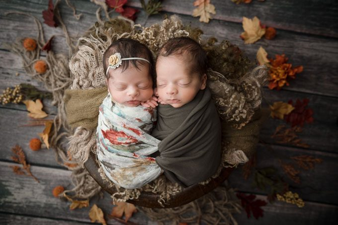 Newborn Photograph of Twins with Intertwined Wrap in Athens GA